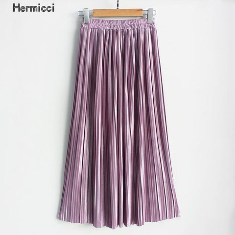 Ankle-Length Metallic Lavender Maxi Skirt