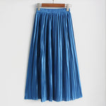 Women's Summer Pleated Ankle-Length Metallic Maxi Skirt