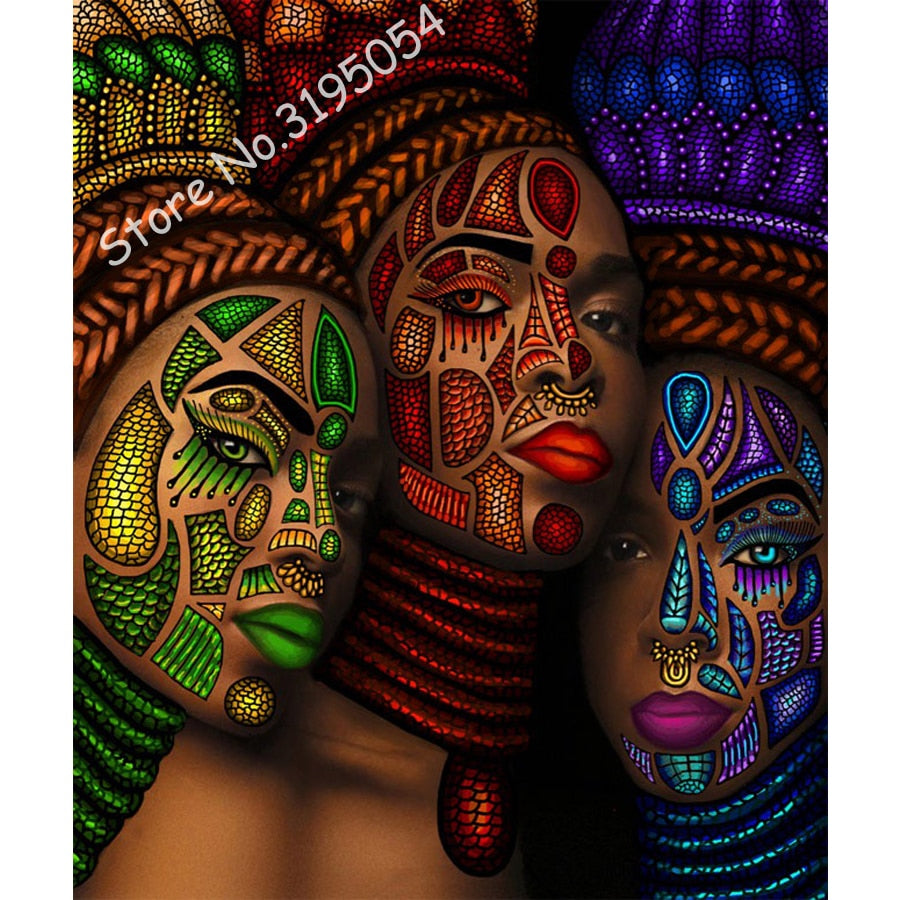 African women 3D Cross Stitch Full Diamond Embroidery Mosaic Pattern Beaded Painting