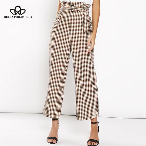Stylish Cotton Plaid Print Pants