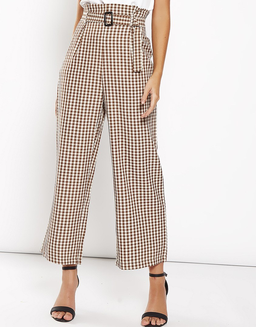 Stylish Cotton Plaid Print High Waist Wide Leg Pants for Women