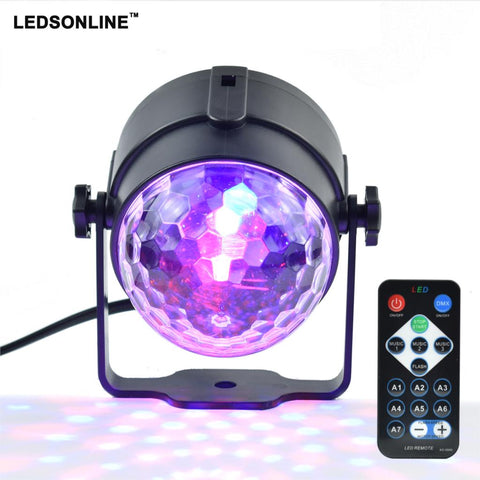Mini RGB 3W Crystal Magic Ball LED Stage Lamp with IR Remote Controller for Party