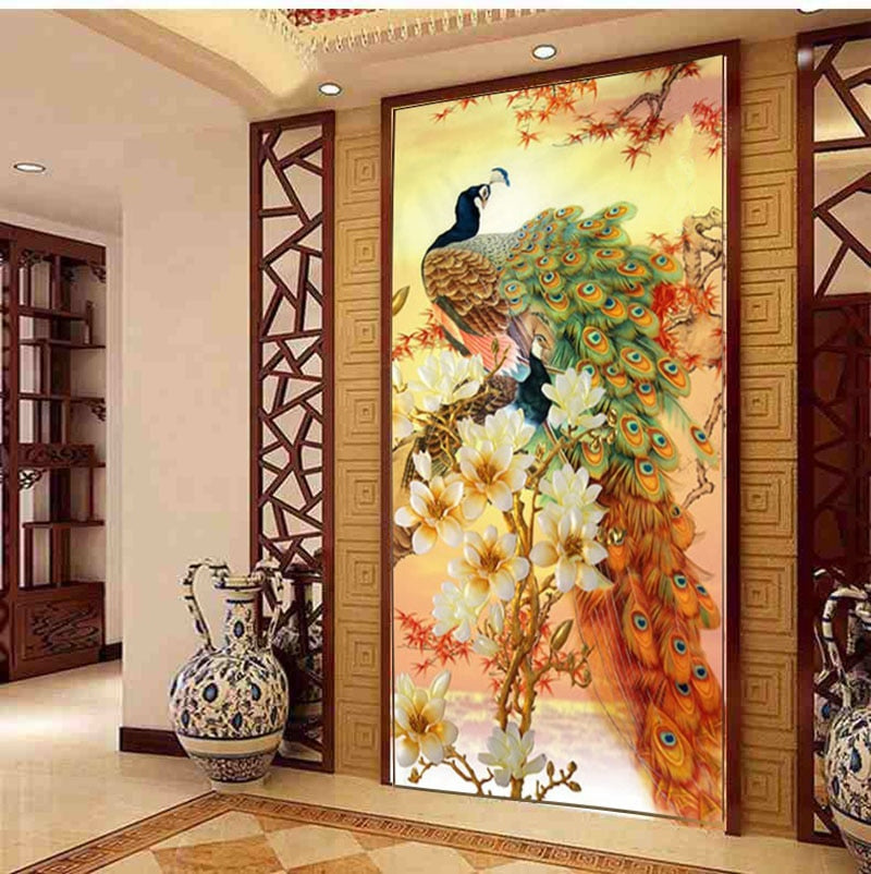 5D DIY Diamond Embroidery Cross Stitch Kits for Peacock Blooping Painting