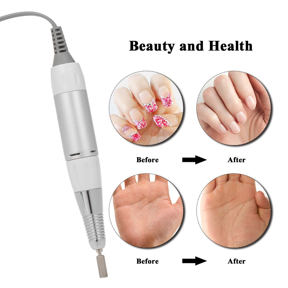 Top Selling 30W 30000RPM Portable Rechargeable Electric Nail Drill Cordless Manicure Pedicure Set