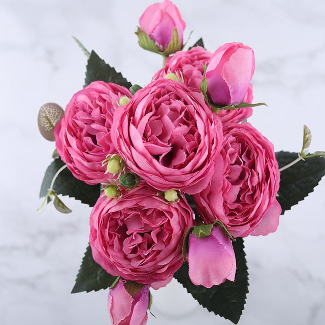 Elegant 5 Big Head and 4 Bud Pink Rose Silk Peony Artificial Flowers Bouquet for Home Wedding Decoration