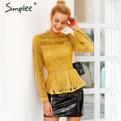 Elegant Lace Hollow Long Sleeve Tops