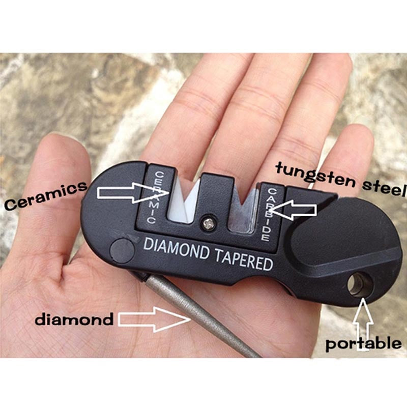 Portable Multifunctional Self Defense Diamond Knife Sharpening Stone Security Attack Tools