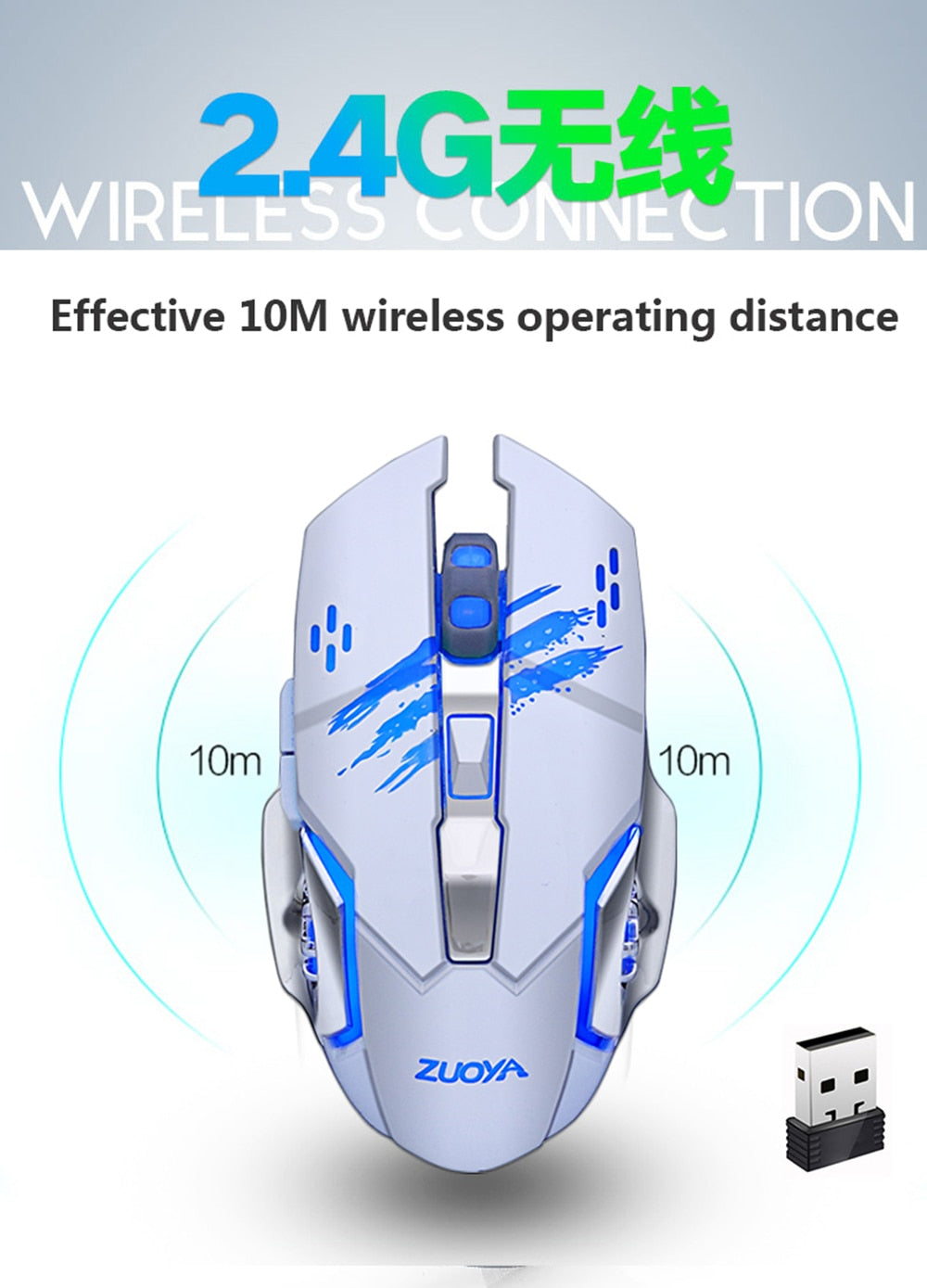 Futuristic Cutting-Edge Rechargeable Silent Wireless Gaming Mouse for PC / Laptop