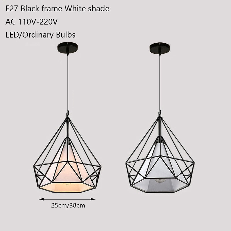 Modern Iron Painted Industrial Diamond Chandelier LED 220V Light for Living Room Kitchen Bedroom