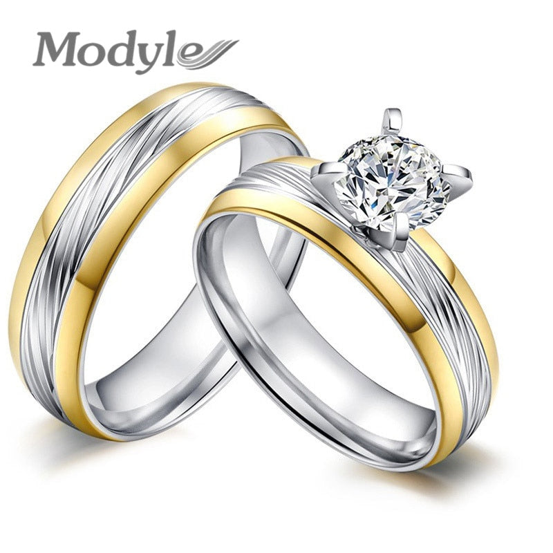 Trendy CZ Stone Stainless Steel Wedding Ring for Couple