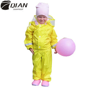 Fashionable Waterproof Jumpsuit Hooded Raincoat For Kids