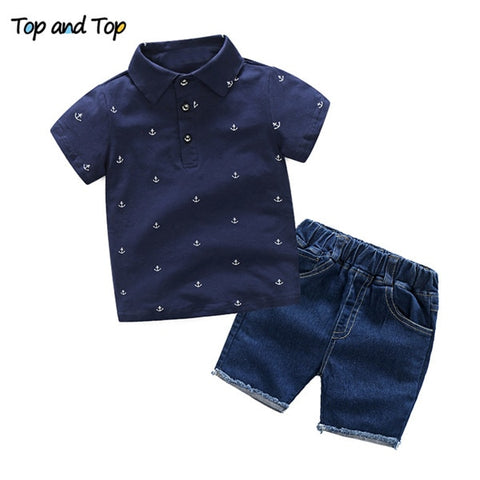 Popular Baby Boys Summer Gentleman Short Sleeve Shirt + Shorts 2 pcs Suits