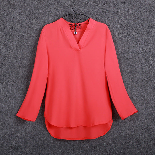 FASHIONABLE V-Neck Three Quarter Chiffon Tops