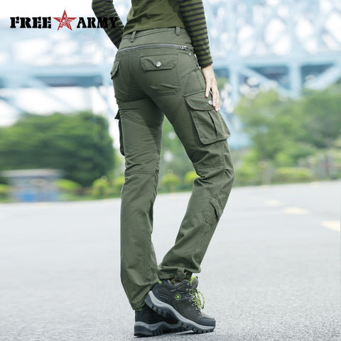 STYLISH High Waist Military Cargo Pants