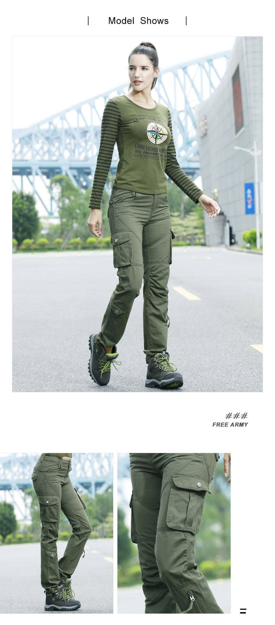 STYLISH High Waist Military Cargo Pants for Women