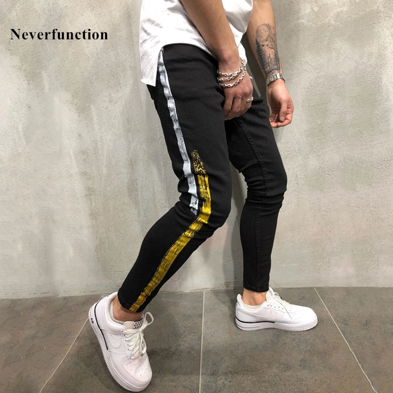 New DASHING Hip Hop Gold Silver Coating Printed Joggers Denim Pants for Men