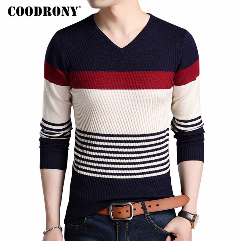 CLASSY Striped V-Neck Thick Warm Sweaters for Men