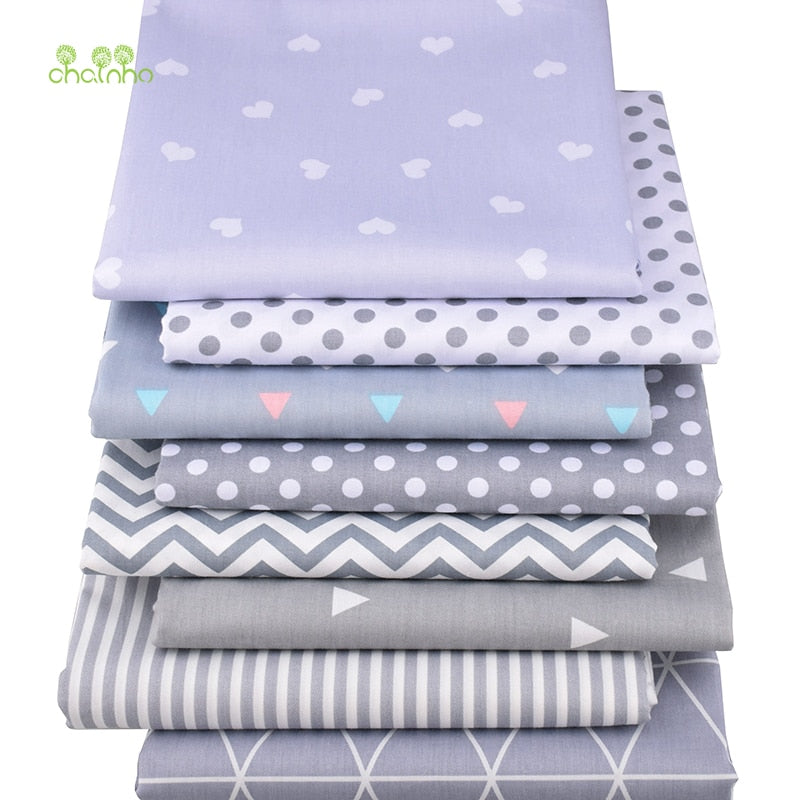 HOT SELLING 8 pcs/lot Gray Geometric Series Printed Twill Cotton Fabric,Patchwork Cloth for DIY Sewing