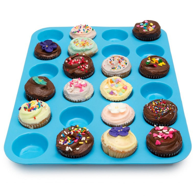 Mini Muffin Cup 24 Cavity Silicone Soap Cookies Cupcake Bakeware Pan Tray
