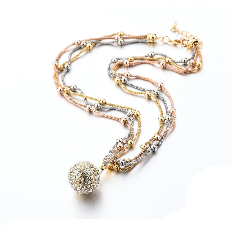 New Designer Women's Full Rhinestone Ball Pendant Long Necklace