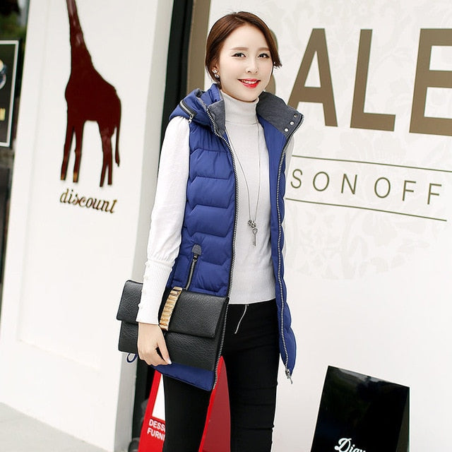 FAST SELLING Autumn Winter Vest Women Sleeveless Hooded Long Jacket