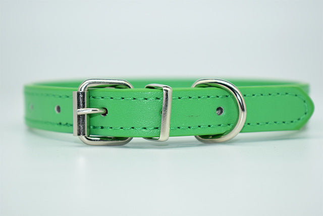 PU Leather Solid & Soft Adjustable Neck Strap Collar for Pet Dogs