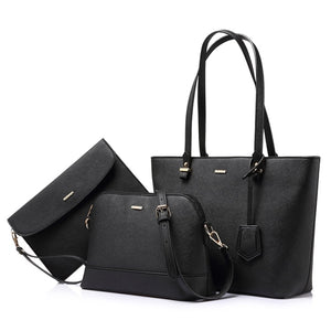 High Quality 3 Pcs PU Leather Shoulder Messenger Bag, Clutch and Purse for  Mother's Day Gifts