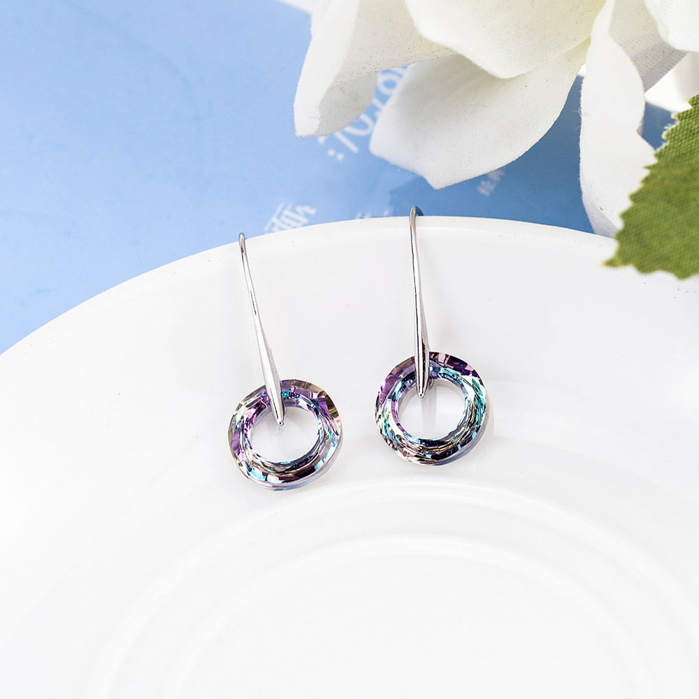 Fancy Stone Circle Drop Crystal Earrings for Women
