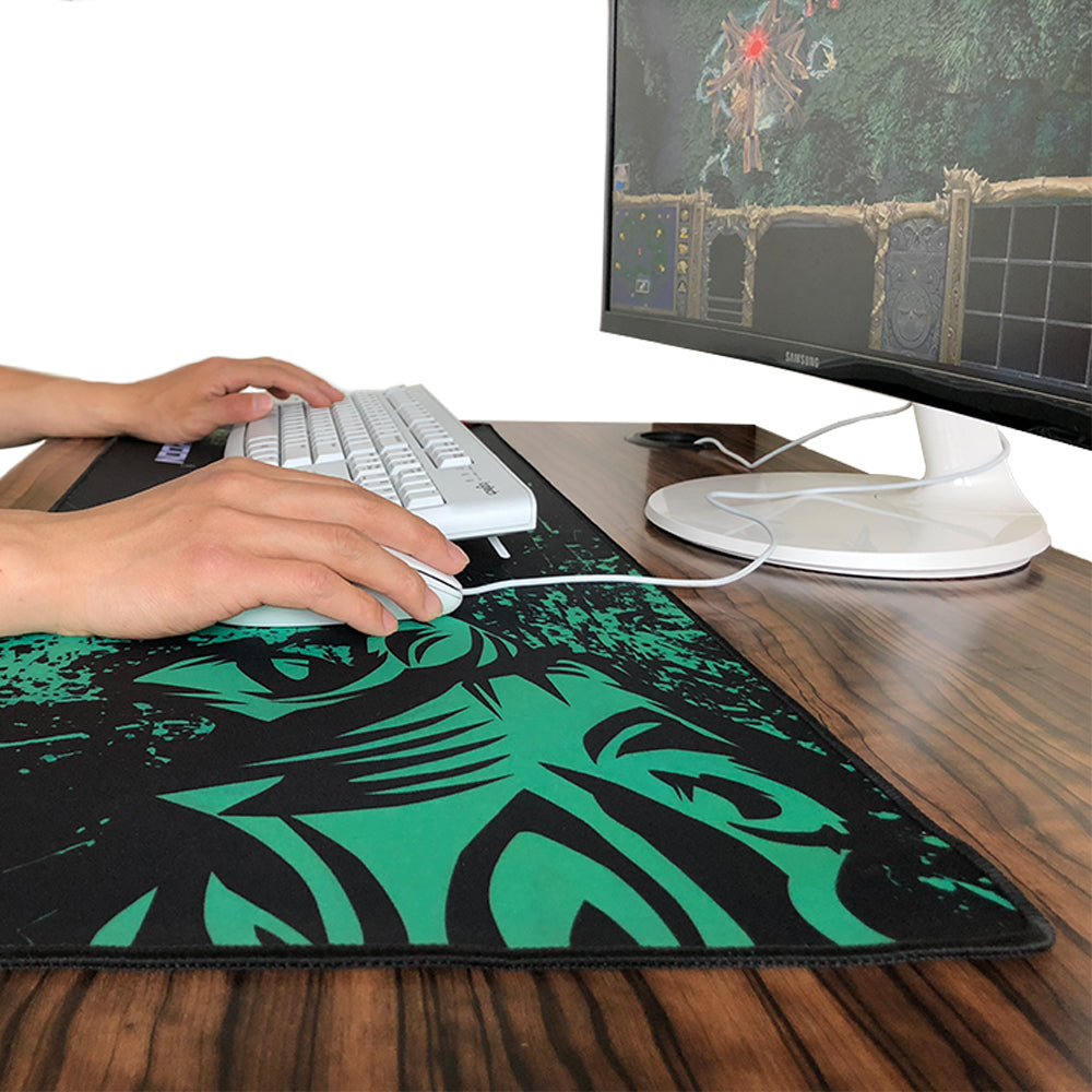 CLASSY Green Lion Print Large Gaming Mouse Pad for Laptop