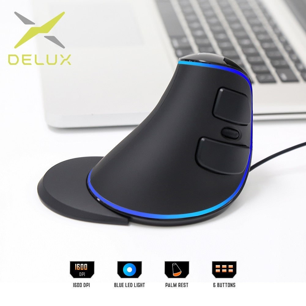 Trendy Futuristic Vertical Blue LED Light Wired Mouse with 6 Buttons for Computer