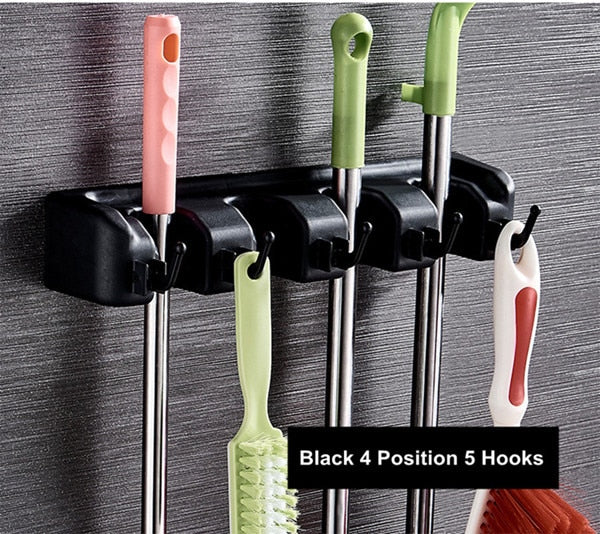 Hot Selling 5/4/3 Position Brush Broom Hanger Storage Rack Hooks for Bathroom
