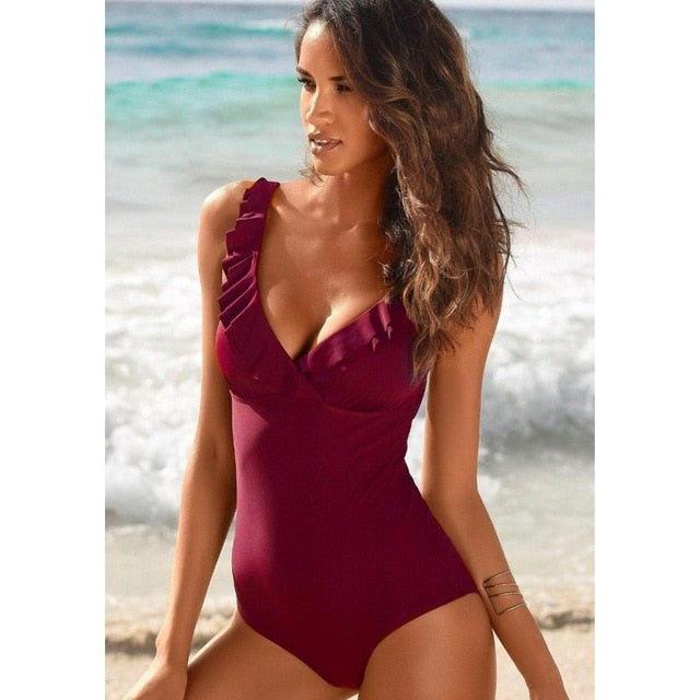 High Quality Deep Neck Ruffle Backless One Piece Swimsuit for Women