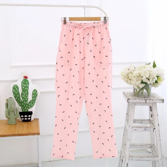 High Quality 100% Gauze Cotton Floral Print & Grid Stripe Pattern Ladies Sleeping Pants