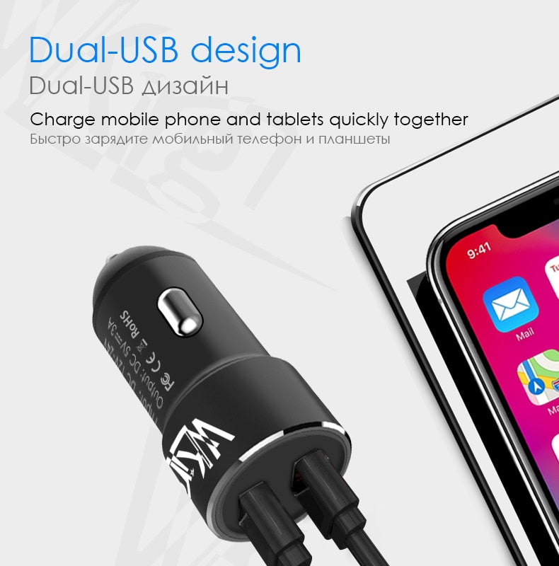 HOT SELLING 5 V 3.0 A Max Dual USB Fast Metal Car Charging for iPhone, Xiaomi, Samsung, Huawei & SONY Phone