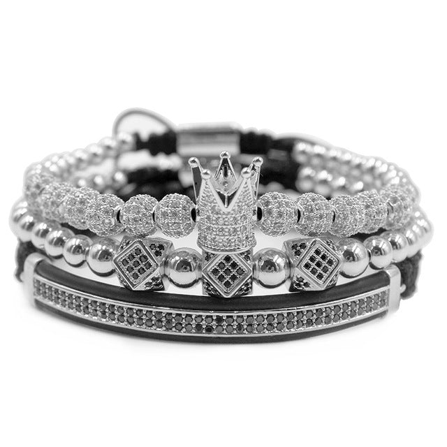 FASHIONABLE 3pcs/set Cubic Zirconia Charm Bracelets for Men/Women