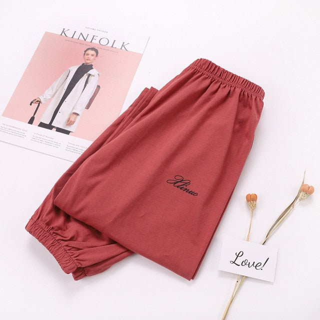100% Knitted Cotton Thin Loose Plus Size Pyjama Pants  for Women