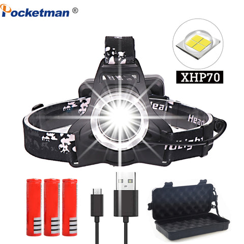 USB Rechargeable Super Bright LED Head Lamp for Camping