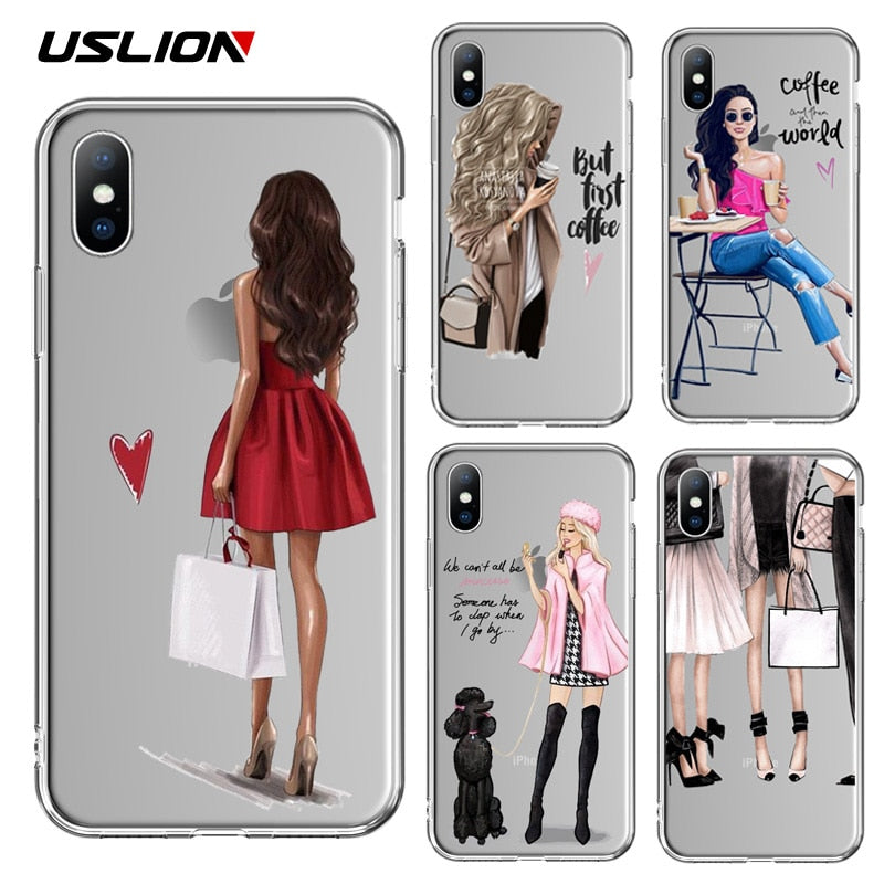 BEAUTIFUL GIRL Pattern Soft Silicon Case for iPhone 6S 6 7 8 Plus X XR XS MAX