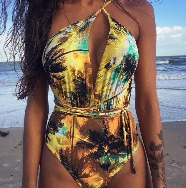 New Sexy One Piece Printed Backless Swimsuit