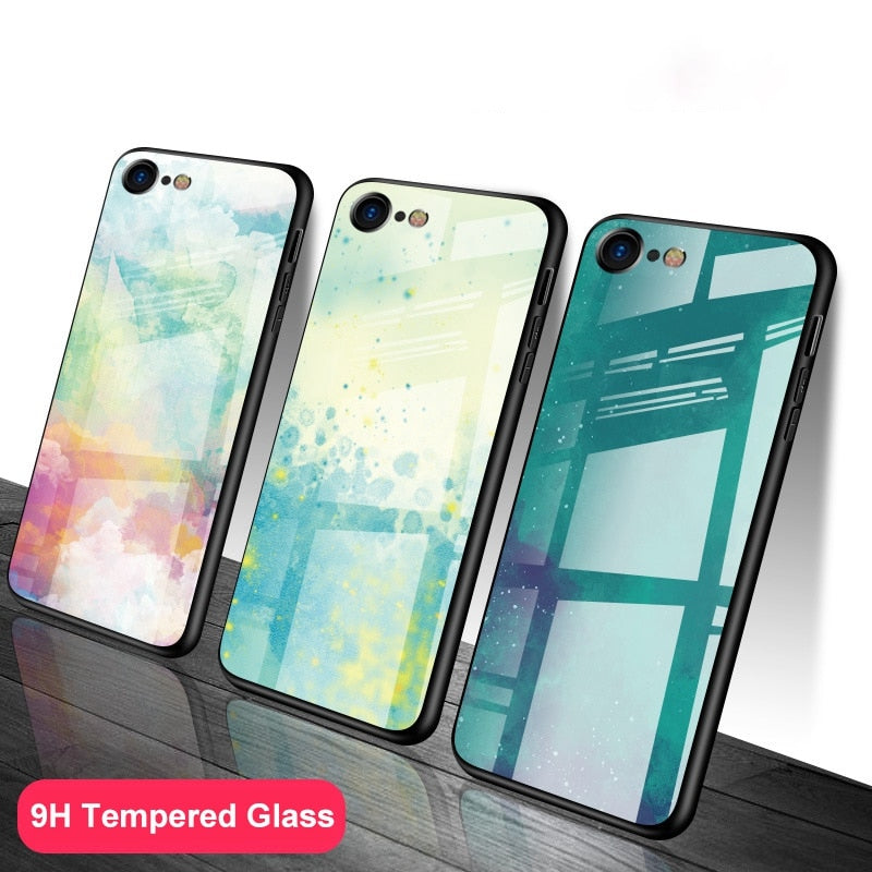 Luxury Dirt-resistant Tempered Glass Cover Case for iPhone 5S SE 6 6S Plus 7 8 Plus