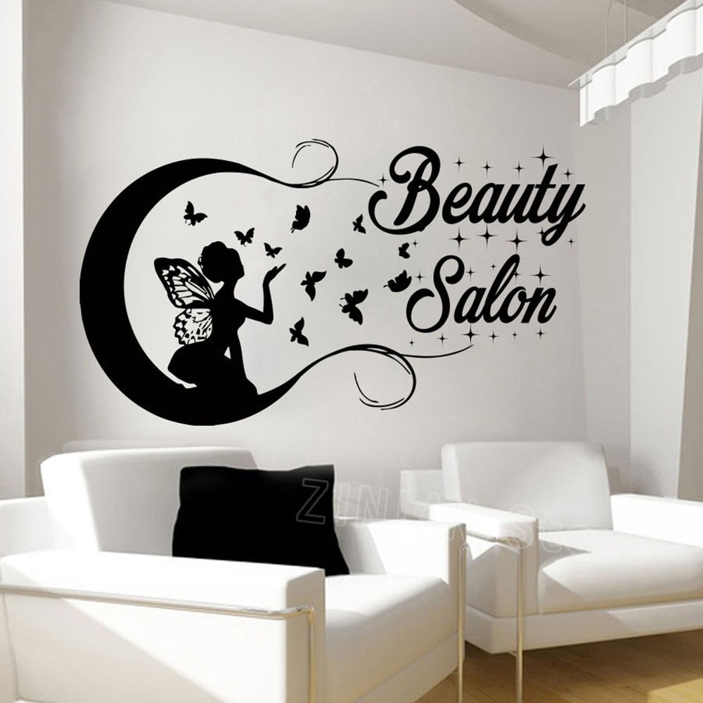 Beautiful Butterfly Girl Silhouette Wall Stickers for Beauty Salon Decor