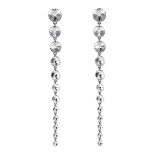 Luxury White Stone Party Wear Crystal Long Earrings For Women