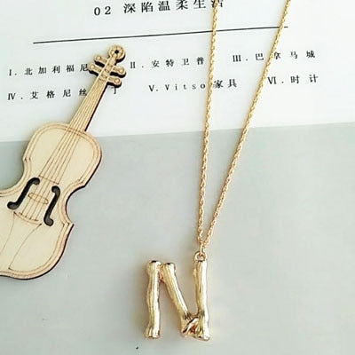 Fashionable Gold Color Hammered Metal with Letter A-Z Minimalist Initial Pendant Necklace