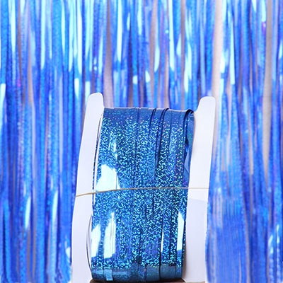 Solid Color Dot Pattern Glitter Gold Tinsel Fringe Foil Curtain for Home/Party Decor