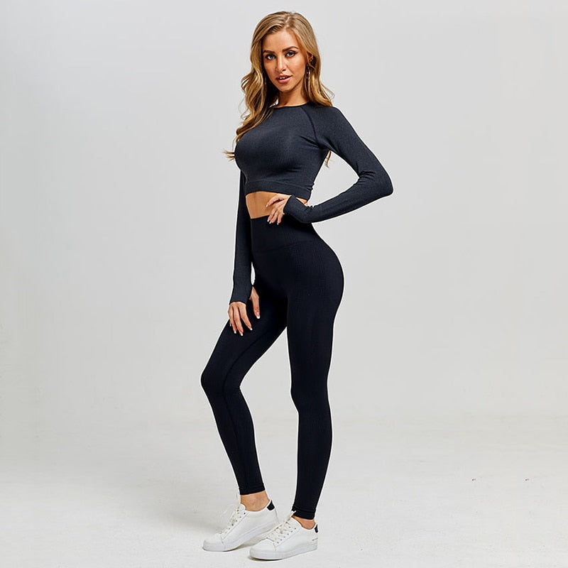 Classy Seamless Leggings with Long Sleeve Shirt Yoga Set for Women