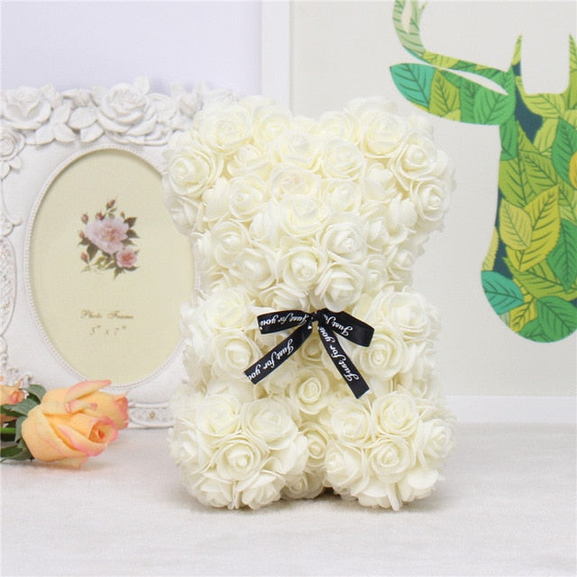 Artificial PE Flower Teddy Bear for Valentine's Day Gift