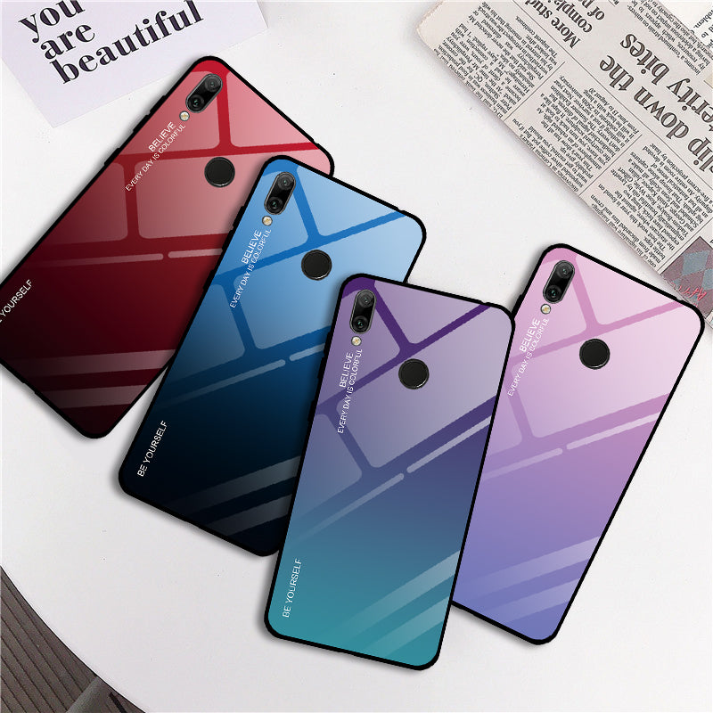 TOP SELLING Gradient Tempered Glass Phone Case for Honor 7A RU 5.45 7A Pro 7C Pro