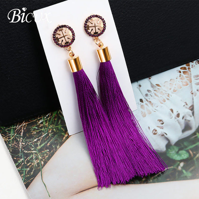 Fashionable Bohemian Tassel Crystal Long Drop Dangle Earrings for Women