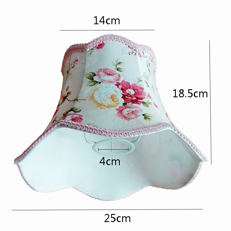 Flower Pattern Textile Fabrics Simple Pink Lace Desk Lampshade for Decoration
