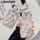 Electroplated Geometric Marble Texture Phone Case